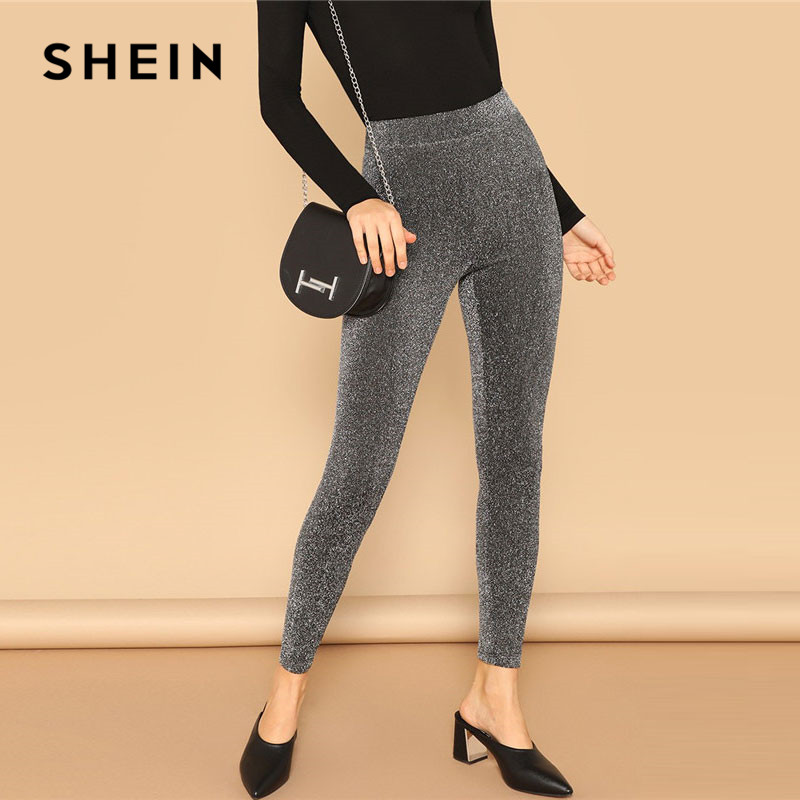 SHEIN Silver Glamorous Elastic Waist Sparkle Maxi Leggings Spring Women Streetwear Casual Stretchy Solid Leggings Pants