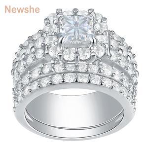 Image 1 - Newsheハローの結婚指輪 4 カラットクロスカットaaaジルコニアクラシックジュエリー 925 スターリングシルバーの婚約指輪セット
