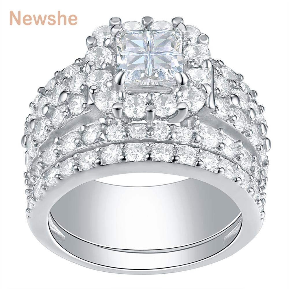 Newshe Halo Wedding Rings For ...