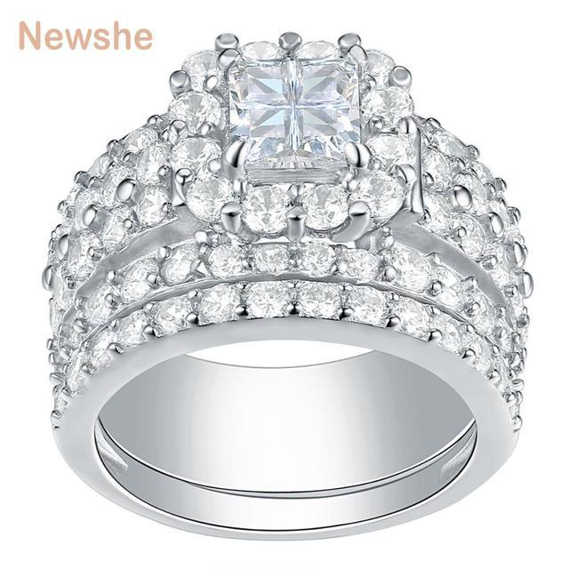 Newshe Halo alyanslar kadınlar için 4 karat çapraz kesim AAA zirkonya klasik takı 925 ayar gümüş nişan yüzüğü seti