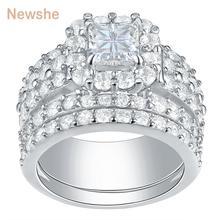Newshe Halo obrączki dla kobiet 4 karaty Cross Cut AAA cyrkonia klasyczna biżuteria 925 srebro zestaw pierścionków zaręczynowych