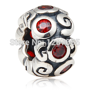 New 925 sterling silver Clouds beads for women charms Red Rhinestones Jewelry fit pandora DIY necklaces & bracelets