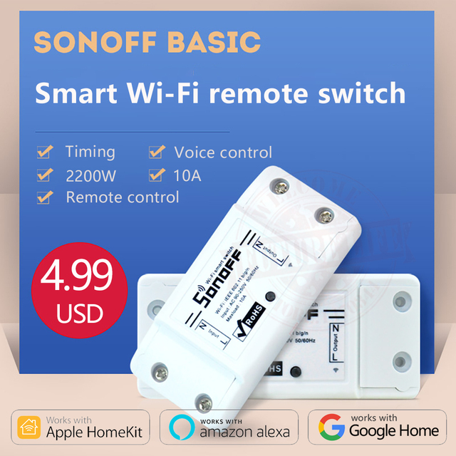 US $4 89 |2018 Sonoff Basic 220v Wireless Control Wifi Switch Smart Home  Automation Intelligent Wireless Center for Light 10A/2200W-in Home  Automation