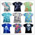 Harajuku t-shirt dos homens / mulheres Whitehorse / flores / montanha de neve / borboleta / crânio / emoji impressão 3d t camisa plus size S-XXL transporte da gota
