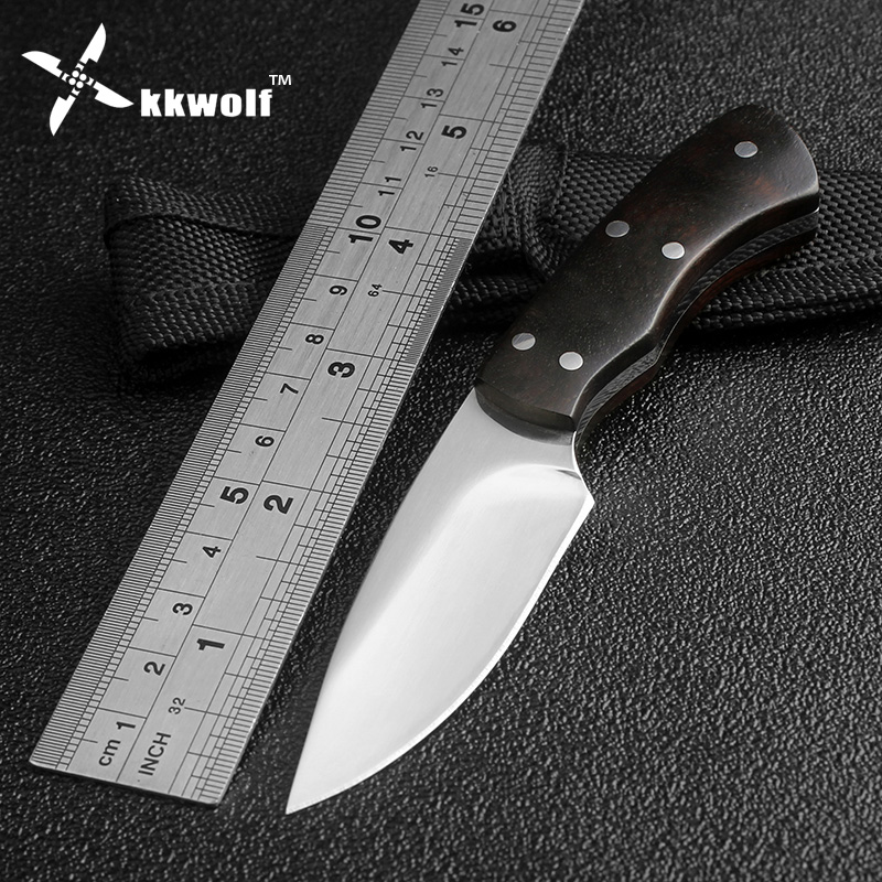 Very sharp Mini hunting Knife Fixed Blade Camping Tactical Survival Pocket Knives Ebony handle Outdoor EDC tools Free Shipping