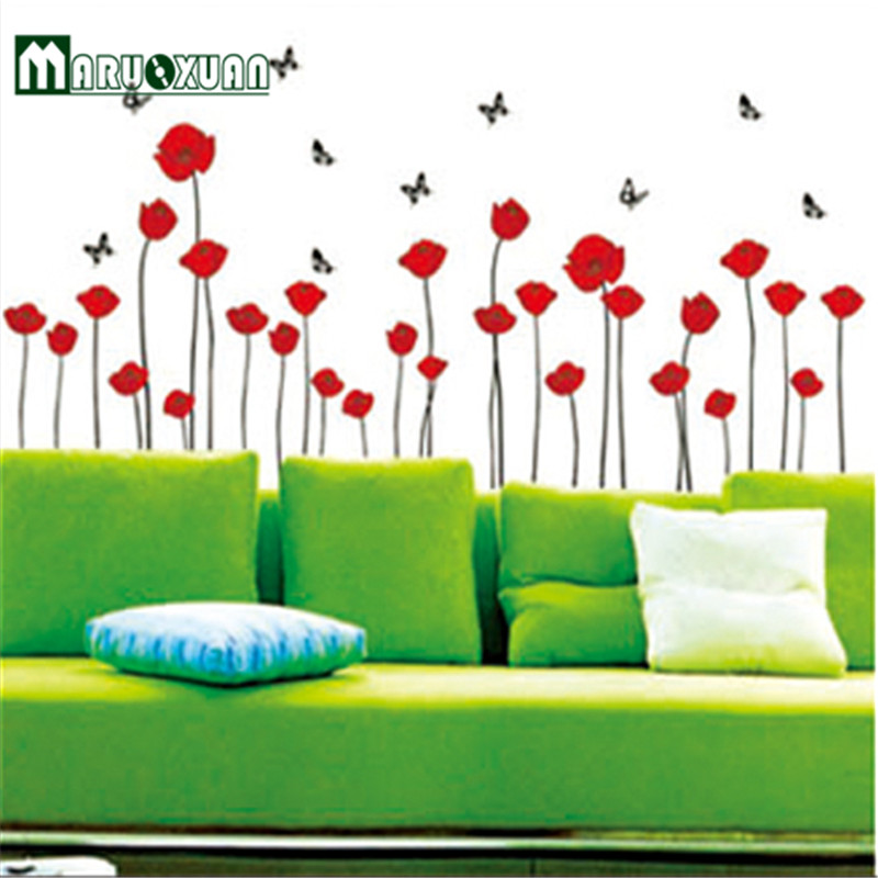 2017 Paper Real Fashion Bright Corn Poppy Flower Diy Wall Sticker Wallpaper Stickers Art Decor Mural Room Decal Home Decals -in Wall Stickers from Home ...  sc 1 st  AliExpress.com & 2017 Paper Real Fashion Bright Corn Poppy Flower Diy Wall Sticker ...