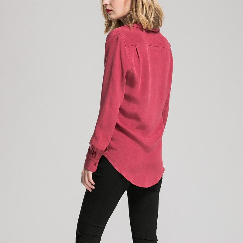 Kadın Giyim'ten Bluzlar ve Gömlekler'de Kadın Ipek Bluz 30mm 100% GERÇEK IPEK KREP Bluzlar Düğmesi Ağır Ipek OFIS Bayan Bluz 2019 BEYAZ'da  Grup 3
