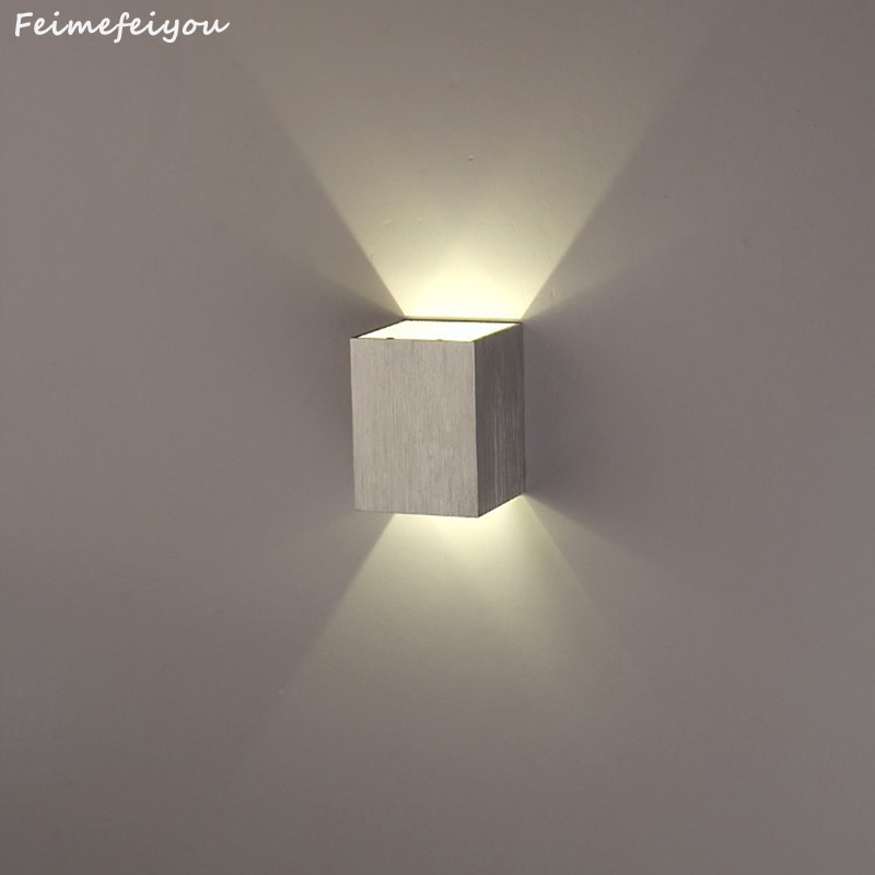 Feimefeiyou lamparas a condus Modern Scurt Cube Up & Down Lumina montate 3W LED Lampa de perete decor interior Aluminiu Wall Lights