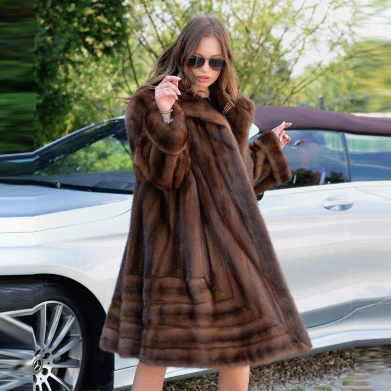 Luxe Mkw D'hiver Véritable Manteau Nouvelle Femmes Outwear Import Revers La Vraie Veste Réel Coffee 2018 Long Fourrure Naturel De Vison Col Avec 099 À ZTXOiPku