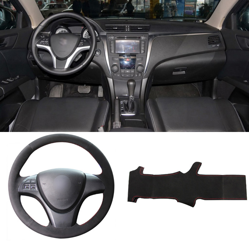 IpobooTech New DIY Sewing-on PU Leather Black Suede Steering Wheel Cover Exact Fit For Suzuki kizashi 2010