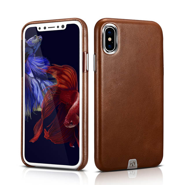 online store 470e0 201b2 Original Luxury Vintage Genuine Leather Case For Apple iPhone X Slim Back  Cover Metal Element Cell Phone Cases For iPhone X