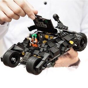 Image 3 - 325 Uds. Superhéroe Batman coche de carreras coche bloques de construcción clásicos compatibles con Lepining juego de bricolaje Batman con 2 figuras