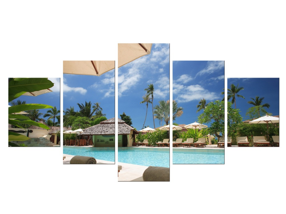 5 Pieces Free Shipping Canvas Art Tropical Island resort Painting Tropical Palm Tree Wall Pictures for Living Room Framed