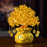 Mini Crystal Money Tree Feng Shui Traditional Bring Luck Wealth Home Decor Miniature Figurines Party Gift Crystal Money Tree