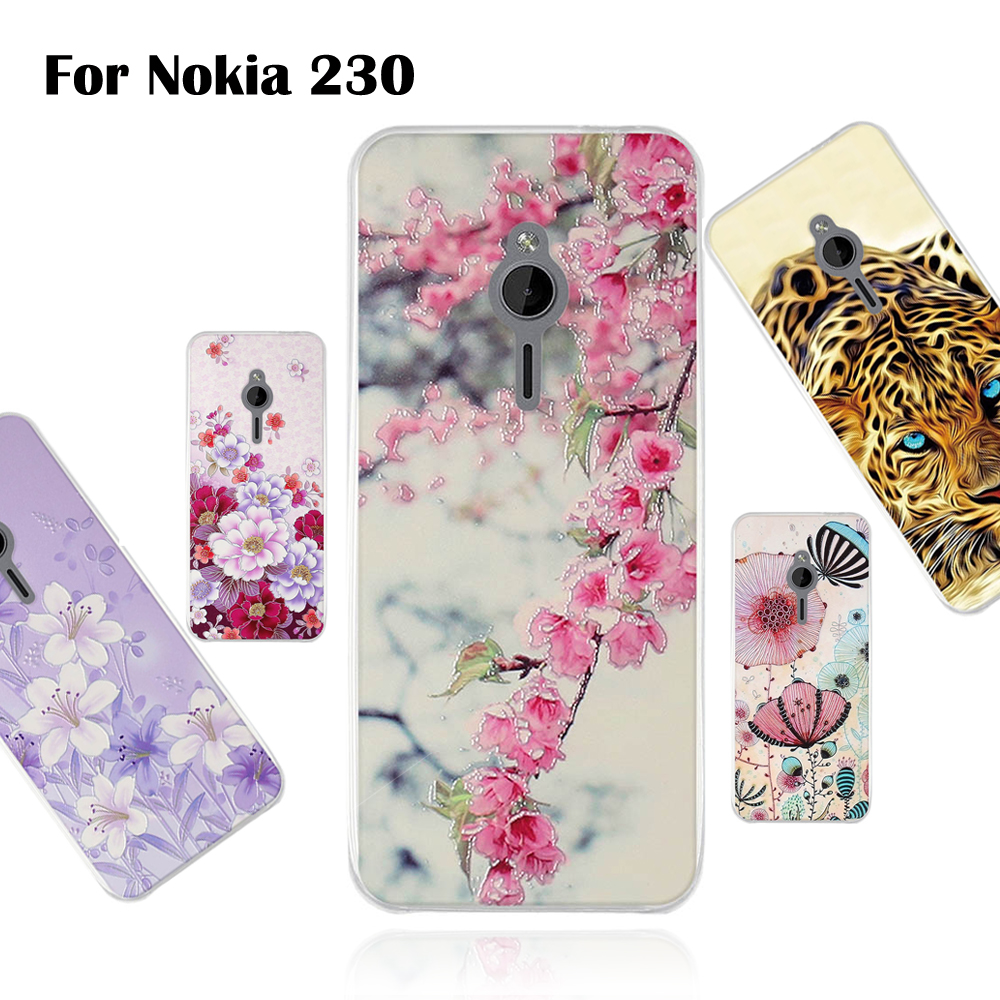 3D Relief Case For <font><b>Nokia</b></font> <font><b>230</b></font> 2.8 inch Back Soft TPU Cover For <font><b>Nokia</b></font> <font><b>230</b></font> Protection Colorful Case Pattern Cute Flower Cover Shell image