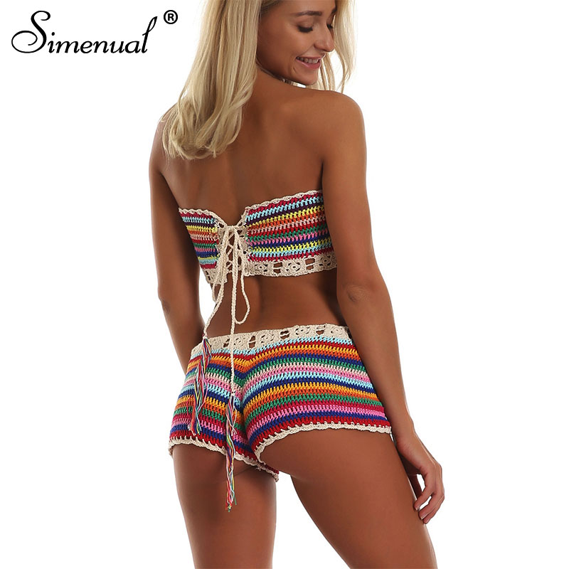 Simenual Rainbow Striped Crochet Set Women Summer Swimwear Handmade Sexy Beachwear Hot BOHO Hollow Out Bathing Suits Bandage New