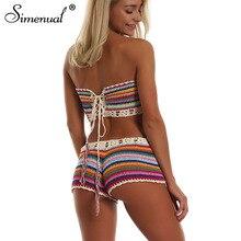 Simenual Rainbow Striped Crochet Set Women Summer Swimwear Handmade Sexy Beachwear Hot BOHO Hollow Out Bathing Suits Bandage New