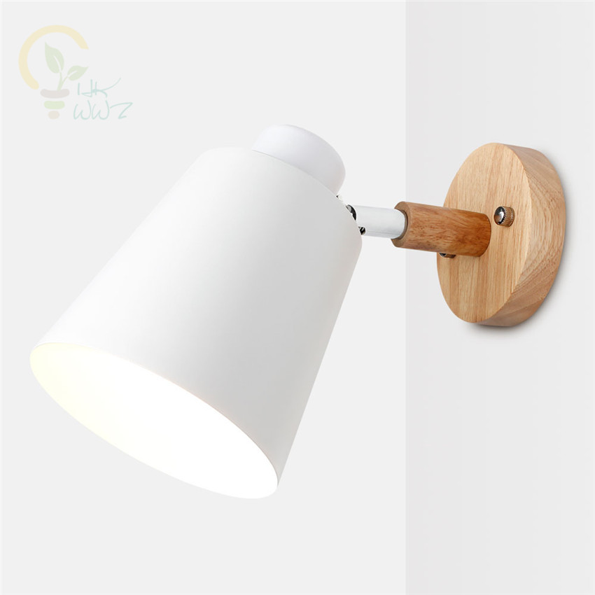 Wooden Wall lights bedside wall Lamp Modern Wall Sconce for bedroom Nordic 6 color Macaroon steering Head E27 Home LightingWooden Wall lights bedside wall Lamp Modern Wall Sconce for bedroom Nordic 6 color Macaroon steering Head E27 Home Lighting