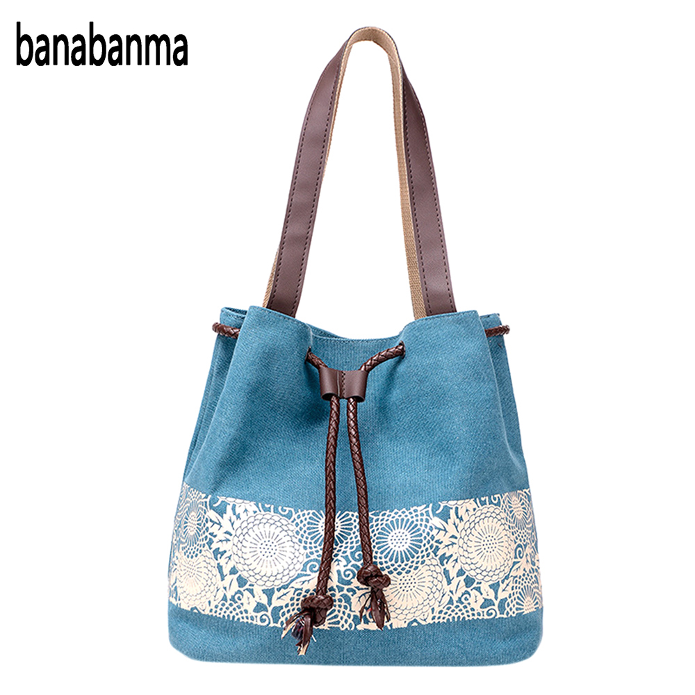 Banabanma Casual Women Large Capacity Tote Canvas Shoulder Bag Female Lace Print Shopping Bag Beach Handbags 2017 fashion ZK30 rope canvas print beach bag