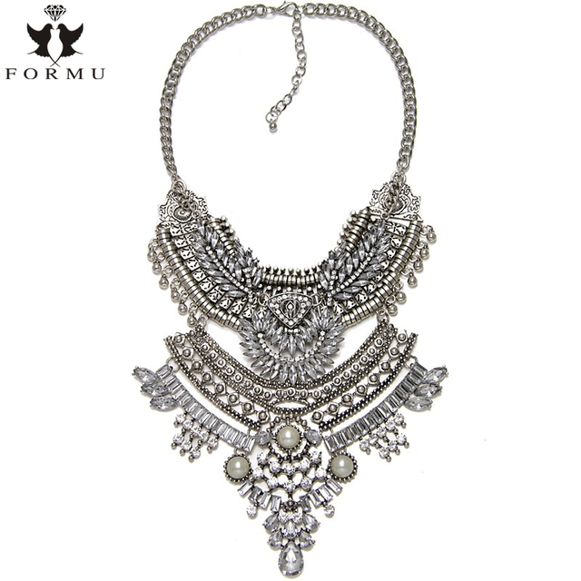 KQMX Maxi Necklace Handmade Shining Acrylic Inlaid Charm Exaggerated Statement Vintage Long Carving Pendant Necklace NK1167