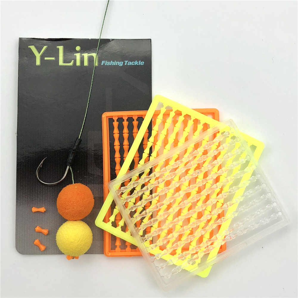 10 Cards(1000pc) Carp Fishing Hair Rig Boilies Bait Dumbell Stopper Boilies Bait Holder Bait Rig Stop Hair Rig Pop Up Stop