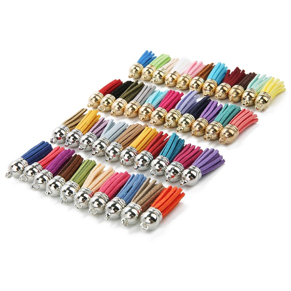 Замшевые кисточки разных цветов с кисточками из искусственной замши, 20 шт./лот, 4 см, с золотой шапочкой CCB, материалы для изготовления ювелир...