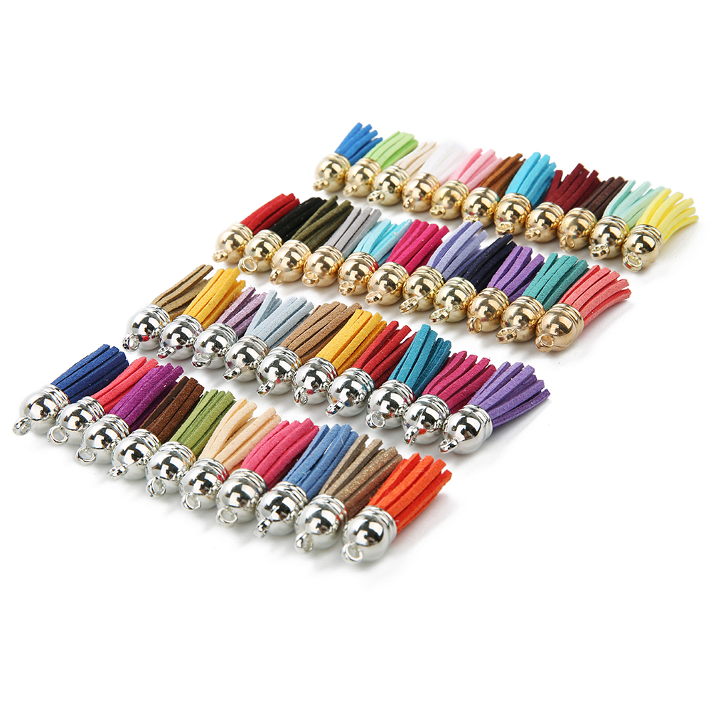 20pcs/lot 4cm   Suede   Tassels Charm Multi Colors Faux   Suede     Leather   Tassel With Gold CCB Cap for DIY Jewelry Making Materials