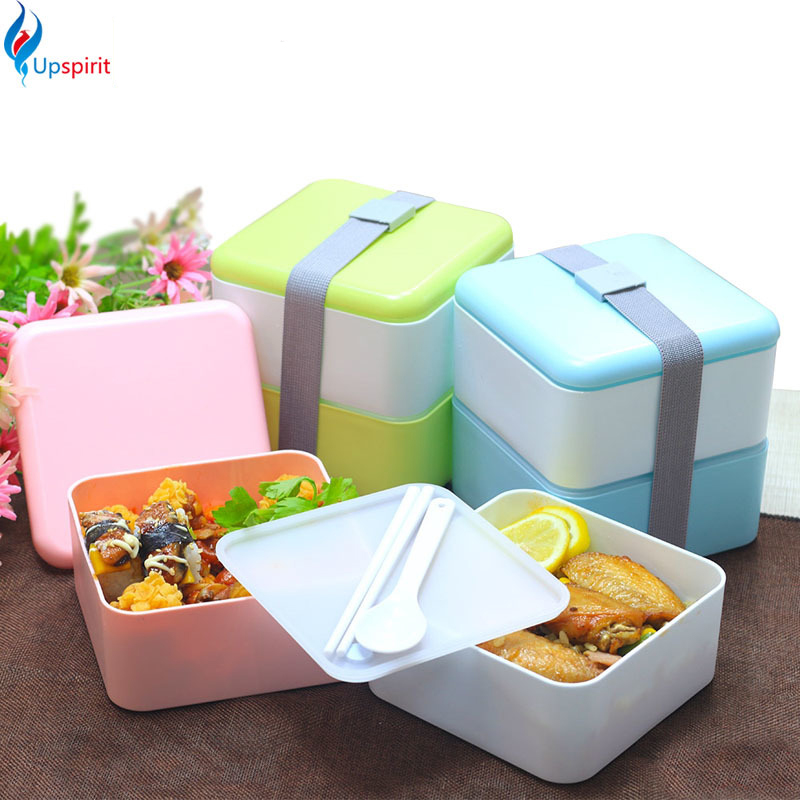 japan style double tier lunch bento box square shape plastic microwave dinnerware food container. Black Bedroom Furniture Sets. Home Design Ideas
