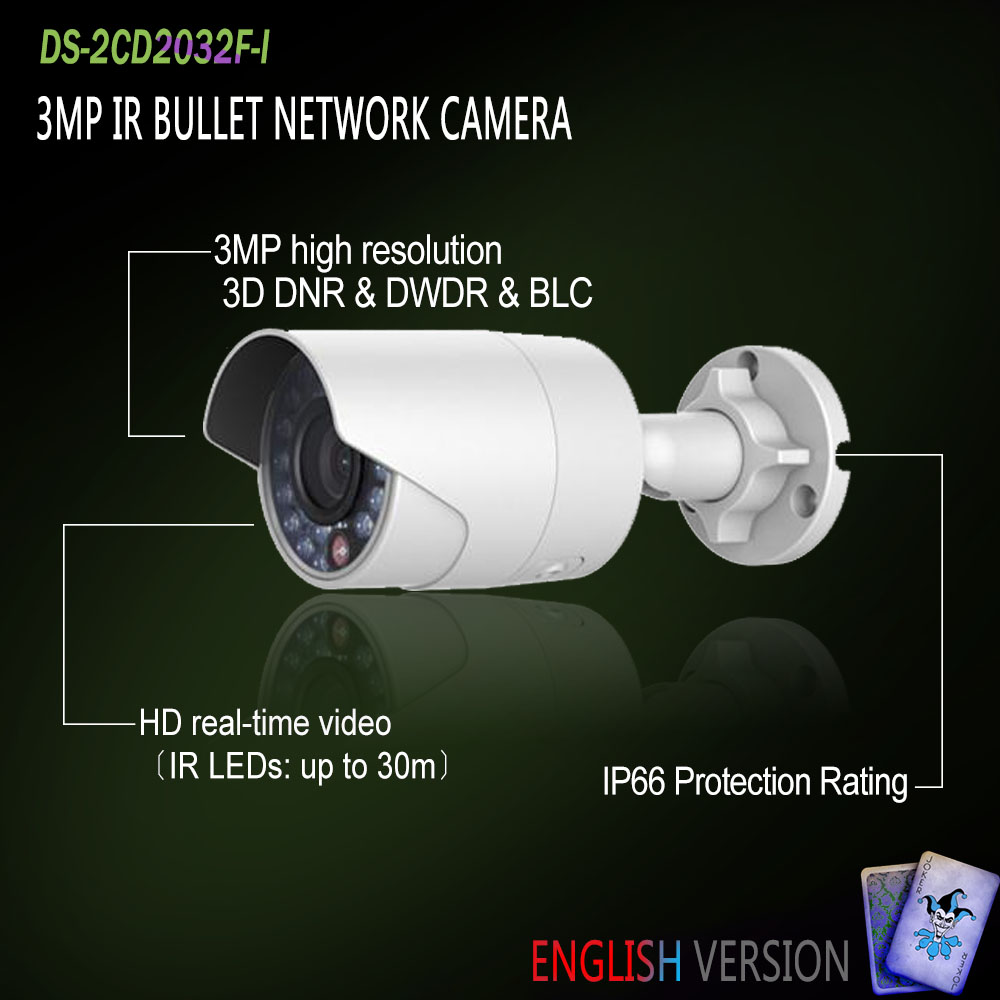 Hikvision In Stock DS-2CD2032F-I English Oversea Version IP housing 3MP Bullet IR Camera POE security P2P Onvif H265 Mini White