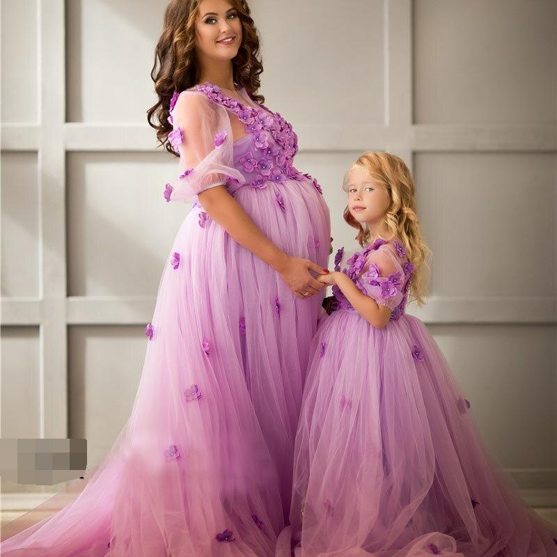 Princesse 3D fleur mère fille robes Couture lavande robe de soirée fleur fille robe Tulle robe formelle pour les femmes enceintes