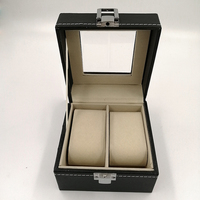 Leather watch box 2 cases exquisite PU leather couple watch storage box 2 men and women watch display box collection box