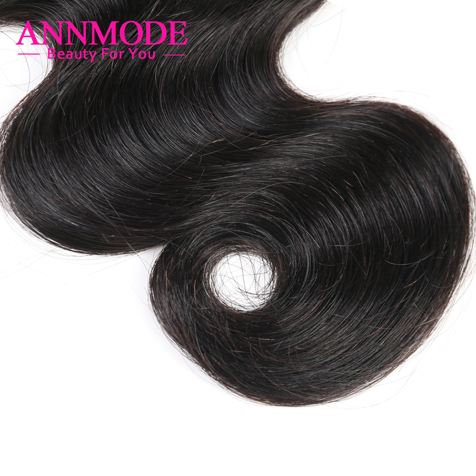 Annmode Hair 1/3/4 Bundles Peruvian Body Wave Hair Natural Color Non - Menneskehår (sort) - Foto 4