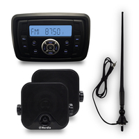 Marine Compact Bluetooth Stereo Motorcycle Audio Radio MP3 Player Sound System Boat RV Car UTV ATV + 4 Marine Speakers+Antenna