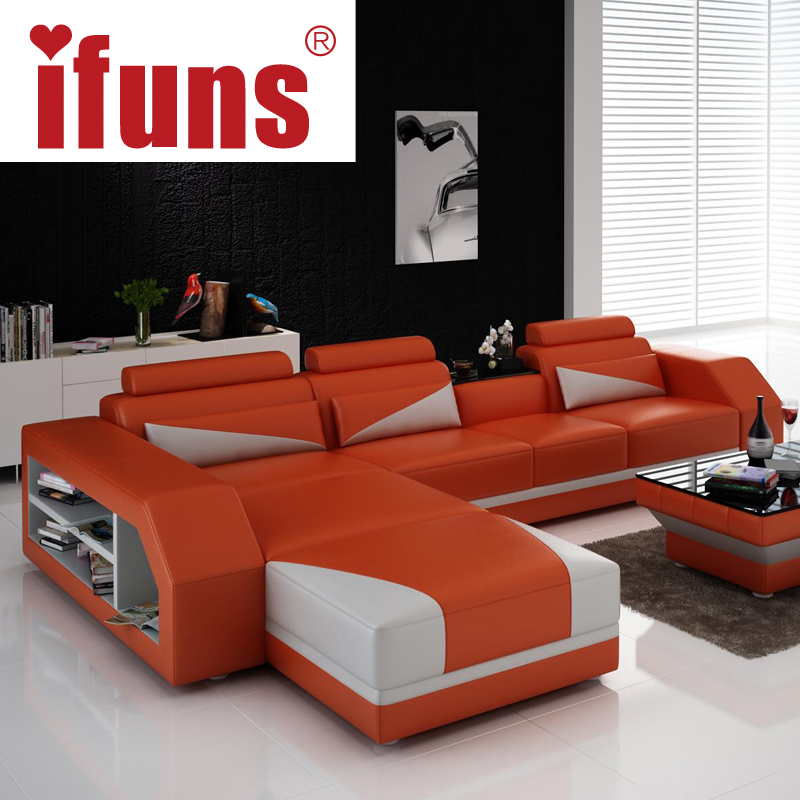 Incroyable IFUNS Custom Made Classic Italian Leather Sofa,L Shaped Designs Heated Seat  Corner Sofa White Genuine Leather Living In Living Room Sofas From Furniture  On ...