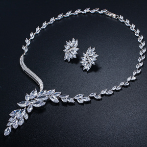 Image 4 - CWWZircons Gorgeous Dropping Flower Cubic Zirconia Paved Luxury Bridal Wedding Costume Necklace Jewelry Sets for Brides T048