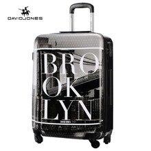 DAVIDJONES 28 inches large hardside luggage vintage print trolly suitcase