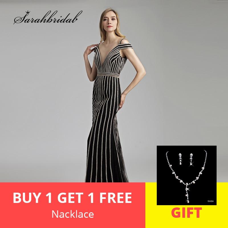 New Elegant Long Mermaid Evening Dresses 2019 Crystal Gowns V Neck Off the Shoulder Formal Real Photos Robe De Soiree LSX497