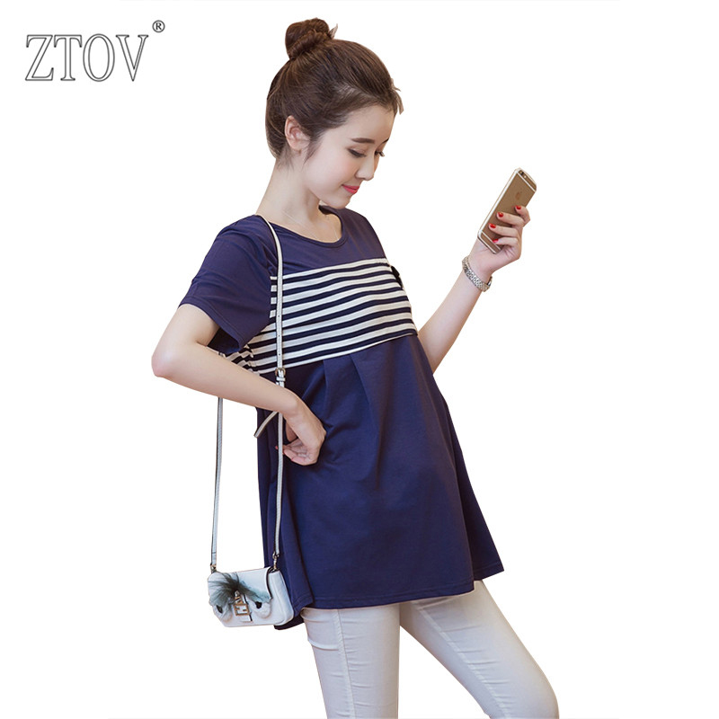 ZTOV 2016 Summer New Maternity Blouses Women Breast feeding Tops stripe Skirts Clothes For Pregnant women pregnancy clothing