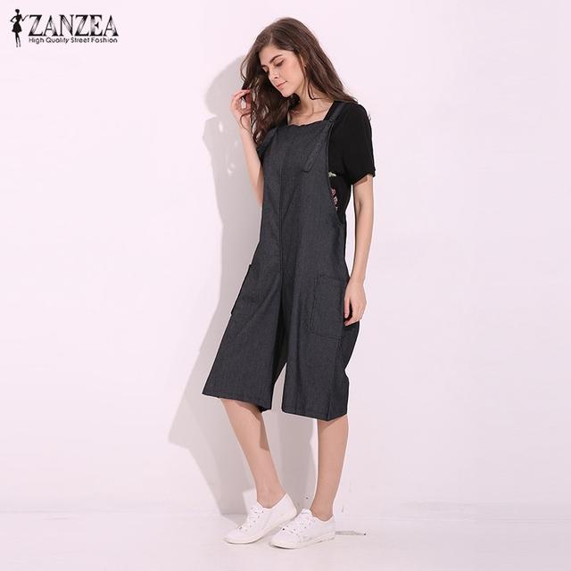ZANZEA Womens Jumpsuits 2018 Adjustable Strappy Dungaress Pockets Wide Leg Denim Blue Retro Rompers Calf Length Bib Overalls