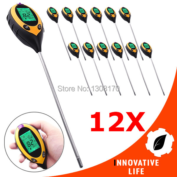 цена на 12 x pieces Digital 4in1 Plant Soil PH Moisture Light Soil Meter Sunlight Thermometer Temperature Lawns Tester 200mm Probe