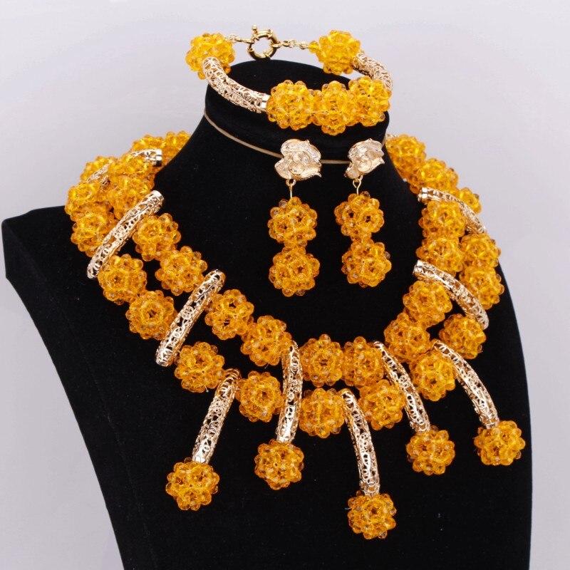 Ensemble de bijoux en cristal de mode dinde pour femmes boules en or jaune collier de perles africaines livraison gratuite ensemble de bijoux pour dames