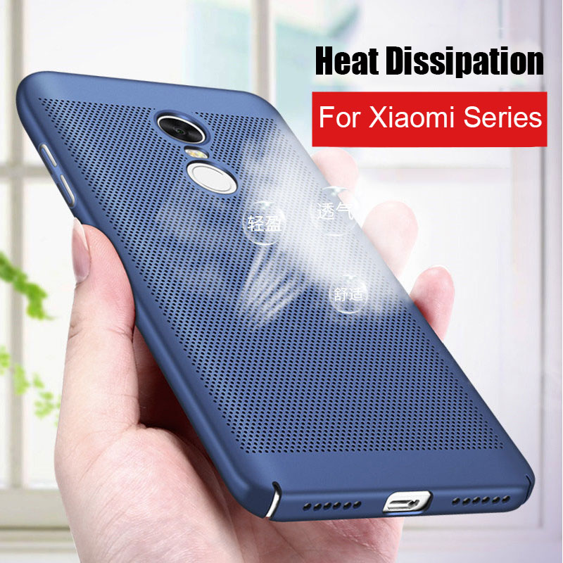 Ultra Slim Breathable Cooling Mesh Hard Cases for Xiaomi Redmi 4X Note 3 4 4X Mi5S Mi6 Mi 6 Cover Heat Dissipation Plastic Case