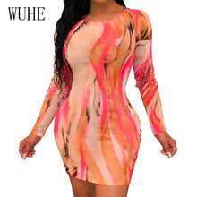 WUHE Summer Long Sleeve Bag Hip Sexy Womens Clothing Fashion O Neck Bodycon Bandage Short Dress Female Vintage Club Vestidos
