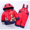 2016 Niños del bebé muchachas de los muchachos de invierno caliente abajo chaqueta de traje establece gruesa capa + mono ropa del bebé fijada chaqueta animal Caballo j03