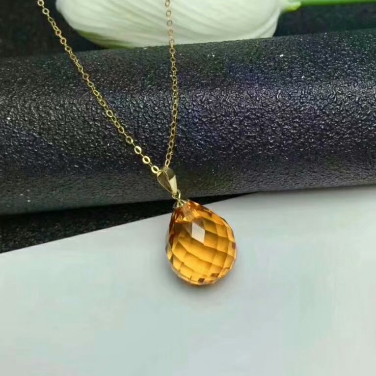 shilovem 18k yellow gold citrine pendants fine Jewelry women party new classic plant mym002