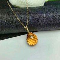 shilovem 18k yellow gold citrine pendants fine Jewelry women party new classic plant mym002