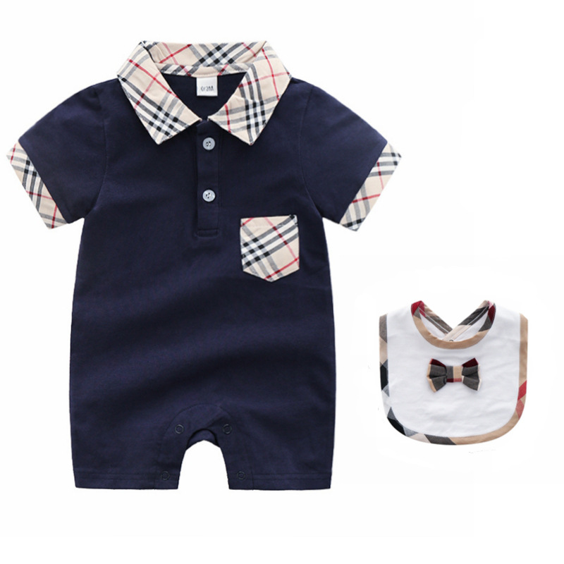 Infant Baby   Rompers   Newborn Baby Girls Clothes Summer Cotton Short Sleeve Jumpsuits +Bib 2PCS Baby Boys Clothing Set