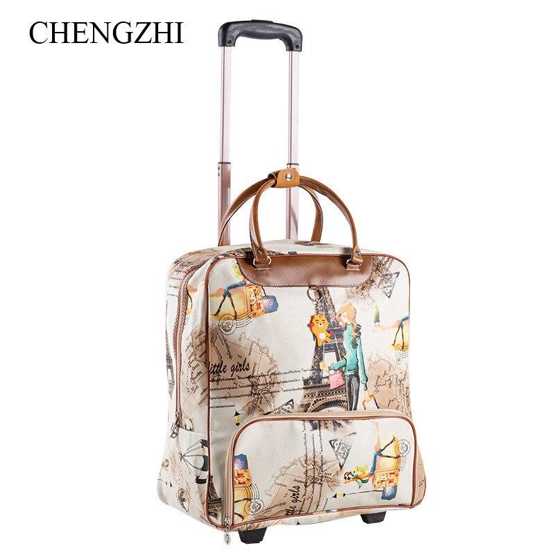 Gepäck & Reisetaschen Gepäck & Taschen Chengzhi Mode Frauen Trolley Streifen Gepäck Roll Koffer Casual Reisetasche Auf Rädern Modern Und Elegant In Mode