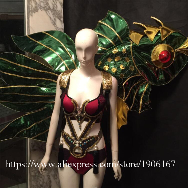 Victoria Catwalk Show Gold Plated Wings TVShow Eveing Dress Costumes Stage Performance Cosplay Women Clothes Party Supplies3