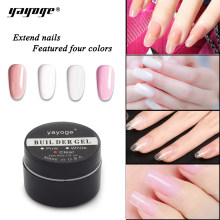 YAYOGE Builder Gel para extensiones de uñas LED uv gel esmalte duro gel barniz 15g rosa claro blanco falso funda negra larga(China)